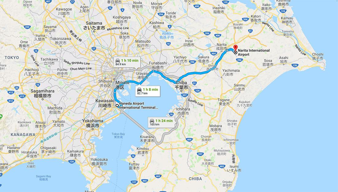 Haneda to Narita route map