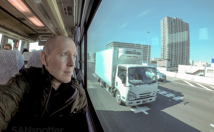 SANspotter selfie Haneda to Narita transfer bus
