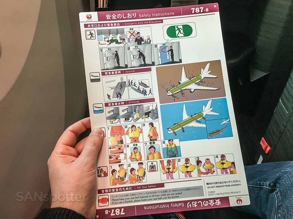 Japan Airlines 787 safety card detail