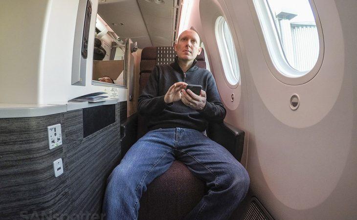 SANspotter selfie JAL 787 Sky Suite