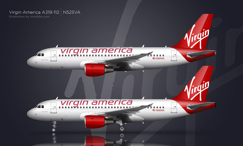Virgin America A319 rendering by Norebbo