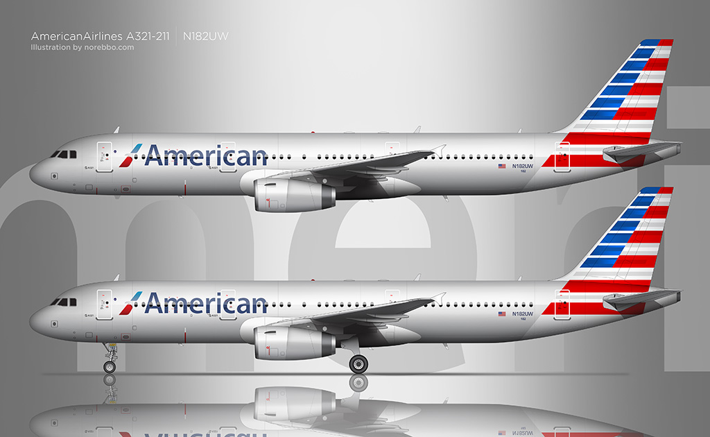 American Airlines A321 side view