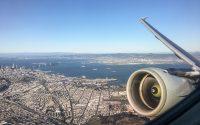 Take off over the city SFO