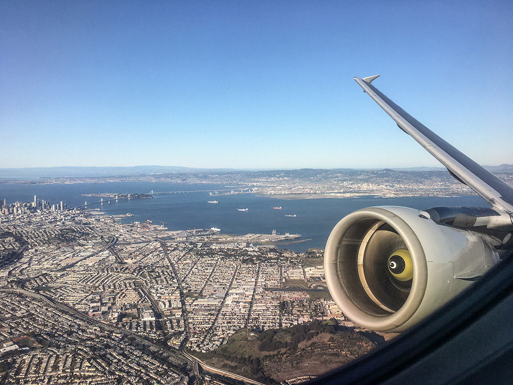 Take off over the city SFO