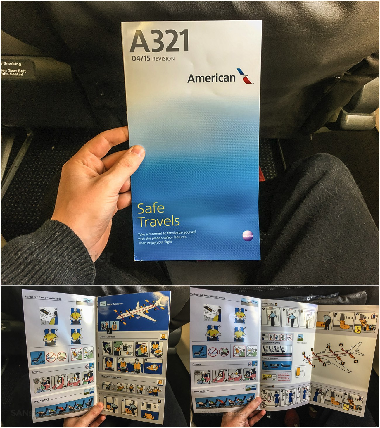 American Airlines A321 safety card