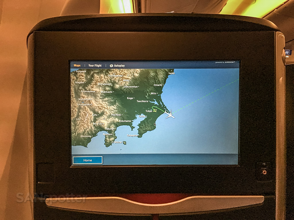 Japan Airlines in-flight map