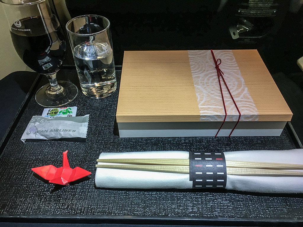 Japan Airlines business class meal presentation