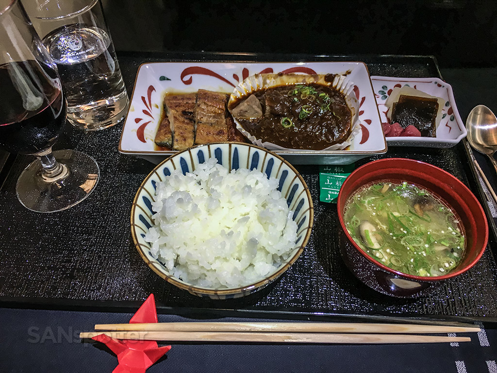 Japan Airlines business class beef tongue