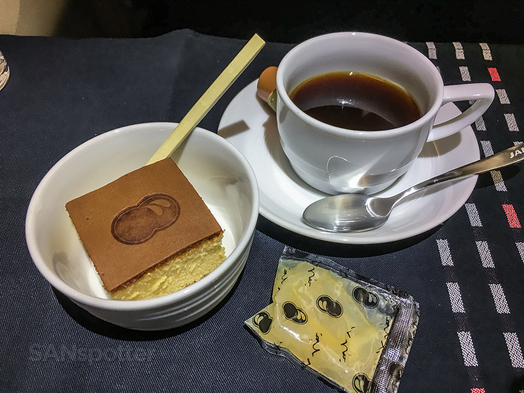 Japan Airlines business class dessert