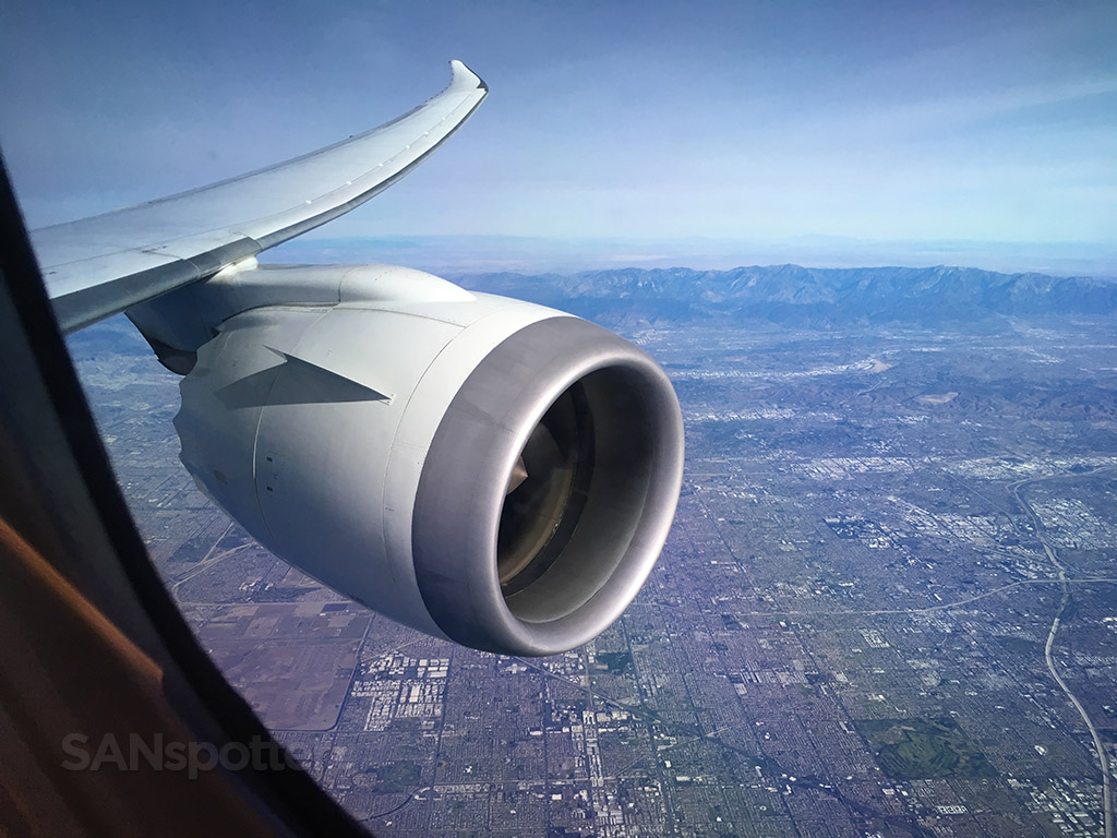 Flying over Southern California Japan Airlines 787