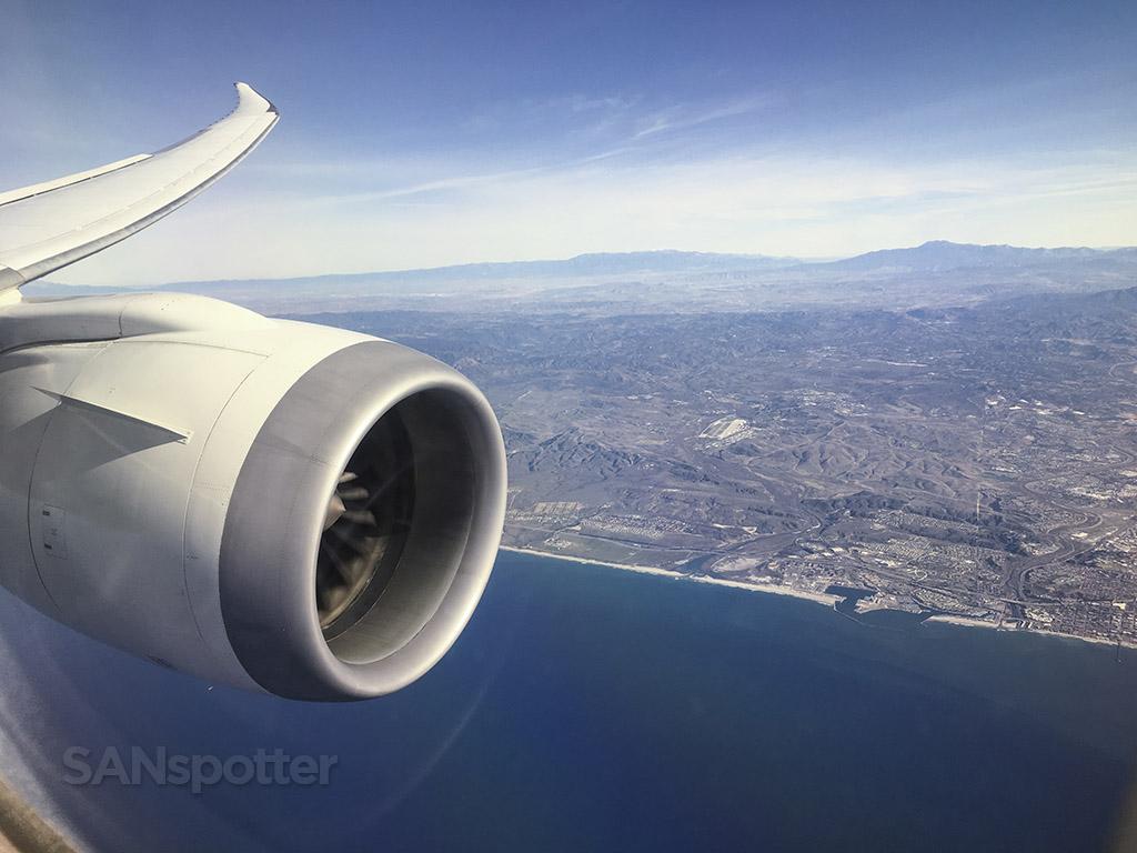 Flying over Oceanside Japan Airlines 787
