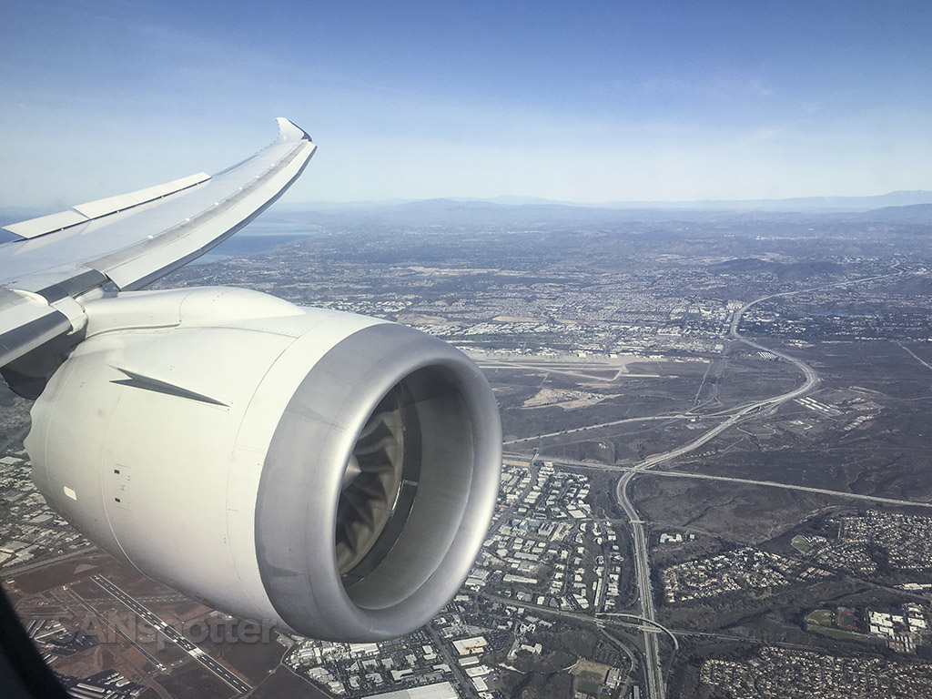 Flying over San Diego Japan Airlines 787