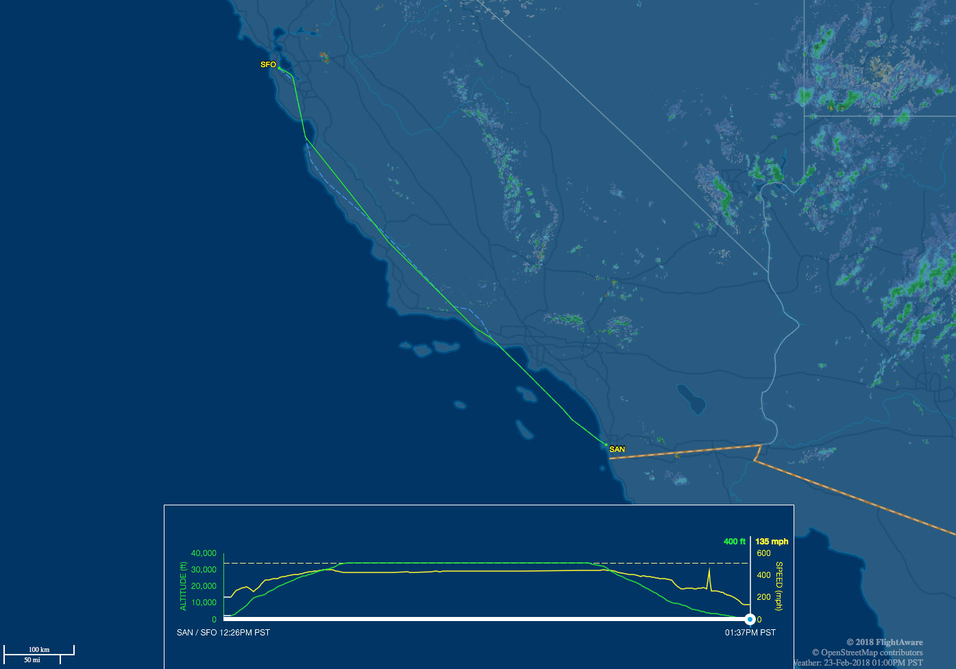 SAN-SFO route map