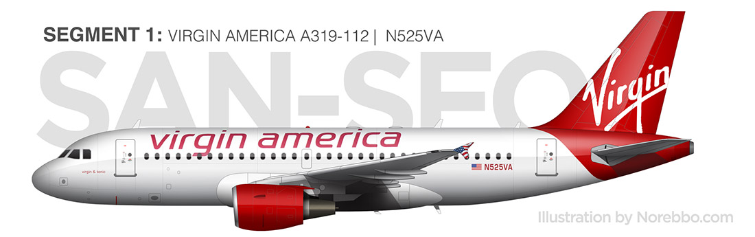 virgin america a319 side view