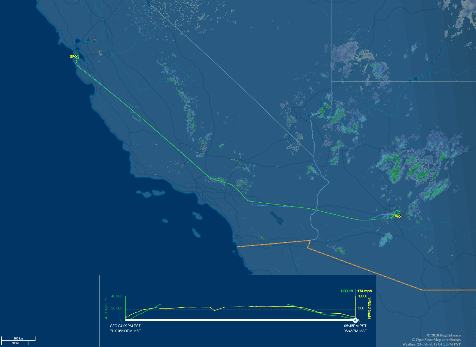 Our route from SFO to PHX