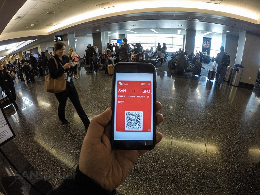 Virgin America mobile boarding pass
