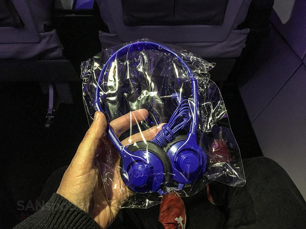 Virgin America blue headphones