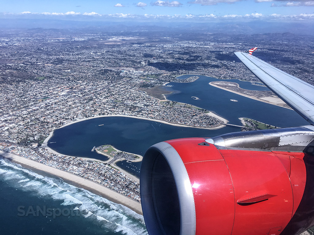 Departing San Diego airport over Mission Bay