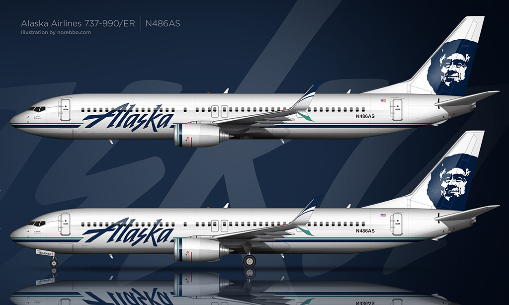 Side view rendering of an Akaska Airlines 737-990/ER