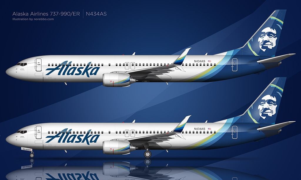 Alaska Airlines new livery illustration