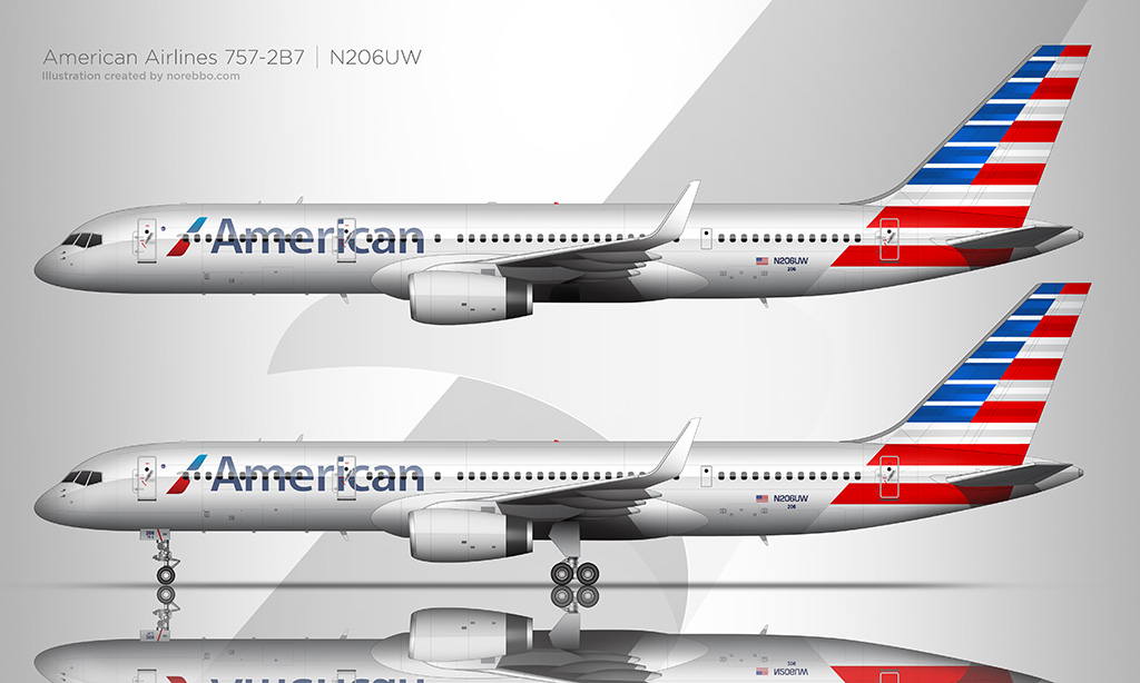 American Airlines 757-200 illustration by norebbo
