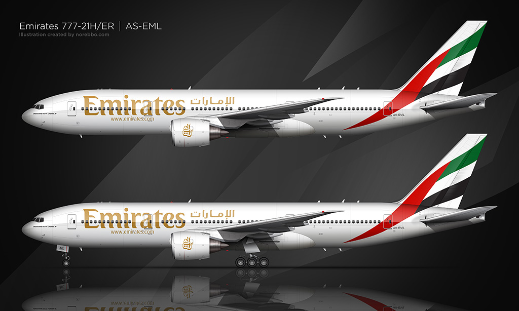 Emirates 777-200 side view