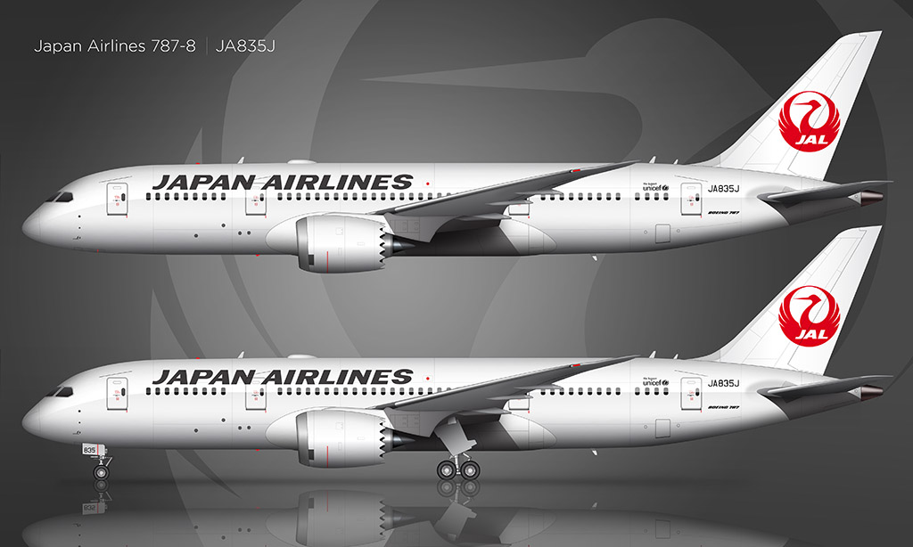 Japan Airlines Boeing 787-8 side view