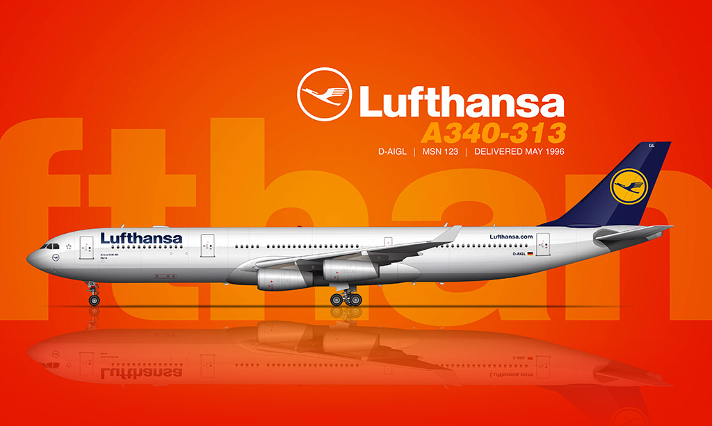 Lufthansa Airbus A340-313 rendering