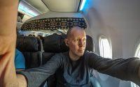 SANspotter selfie Alaska Airlines first class