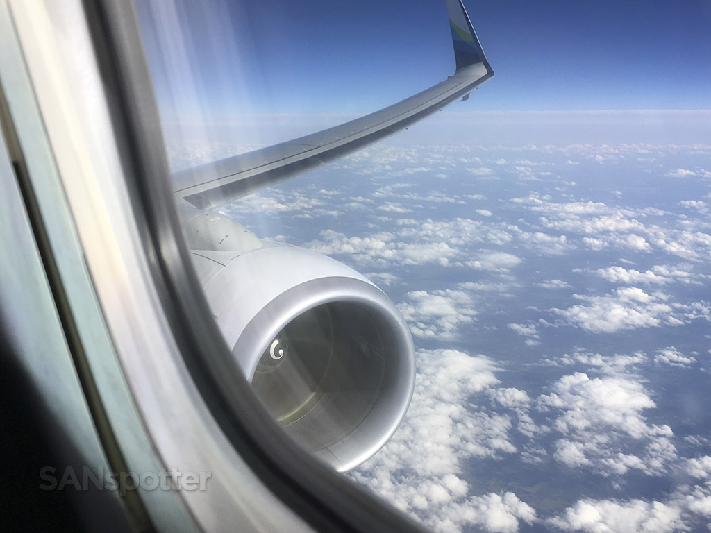 Alaska airlines in flight window view
