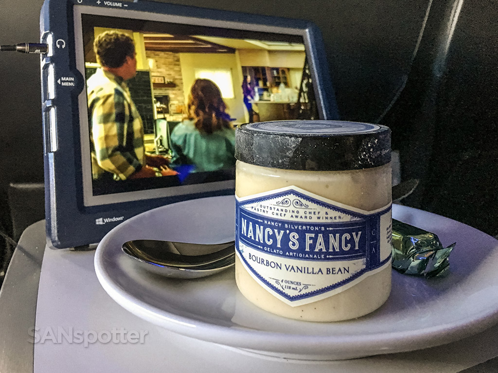 Nancy's fancyIce cream Alaska airlines first class