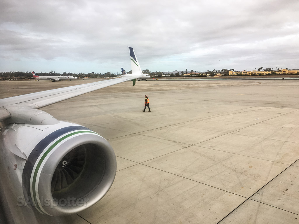 Alaska airlines pushback from gate San Diego Airport