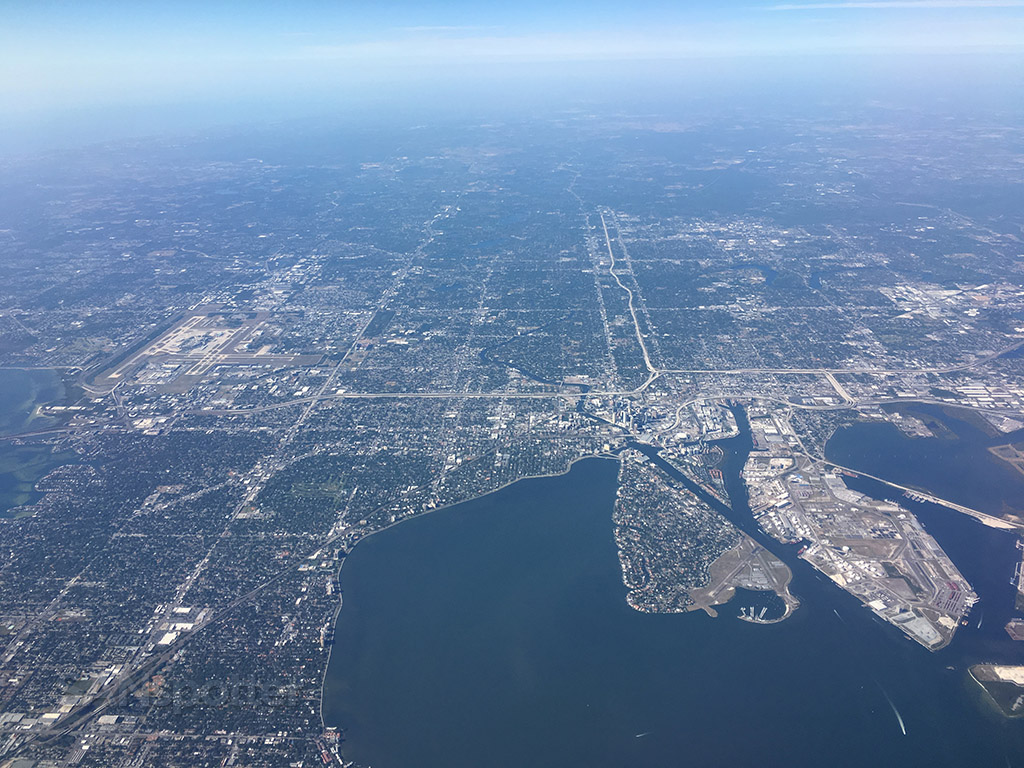 Flying over Tampa Florida