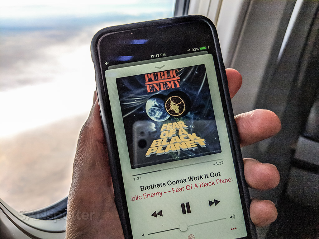 Listening to public enemy on a flight