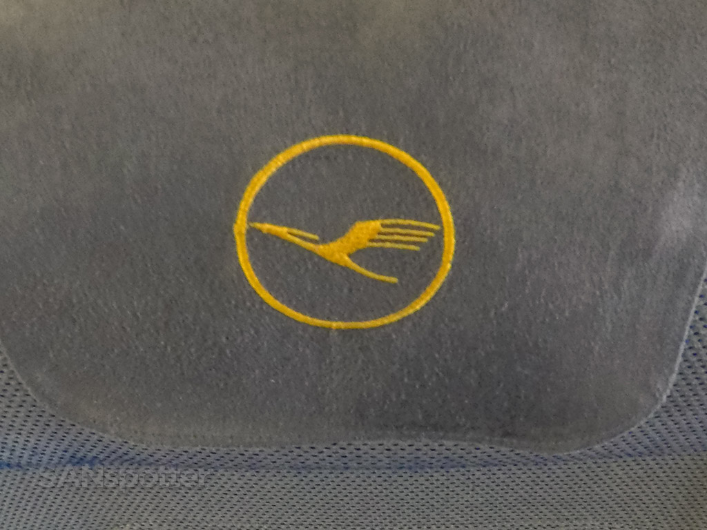 Lufthansa logo seat headrests