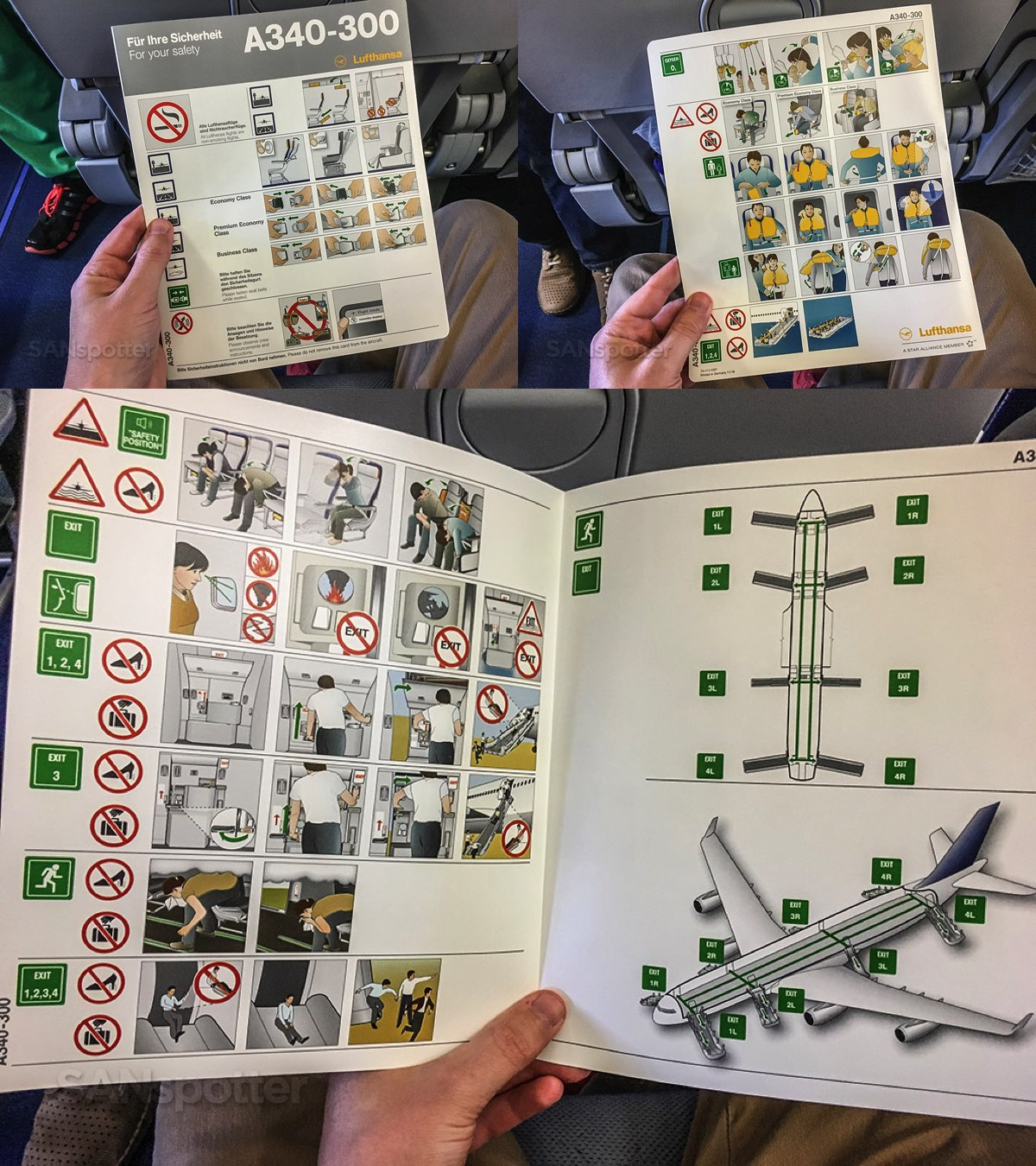 Lufthansa a340-300 safety card