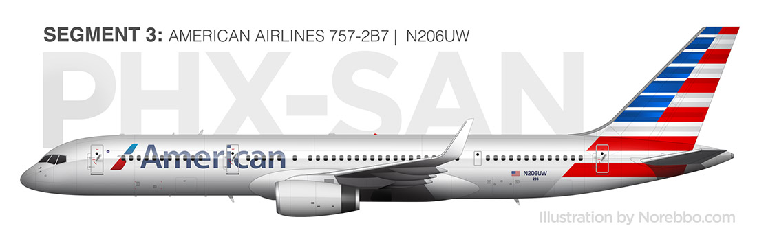 American Airlines 757-200 side view rendering