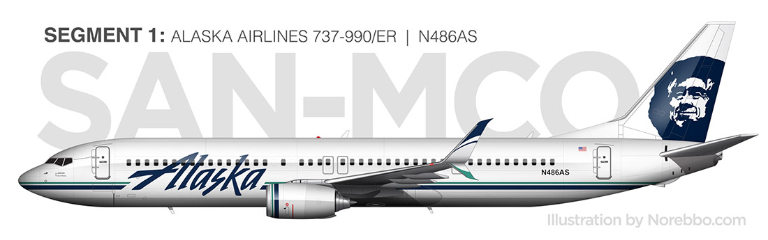 Alaska Airlines 737-900/ER side view illustration