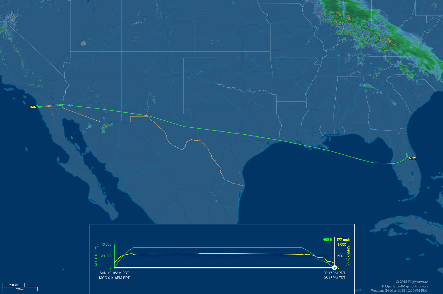 Our route from SAN to MCO