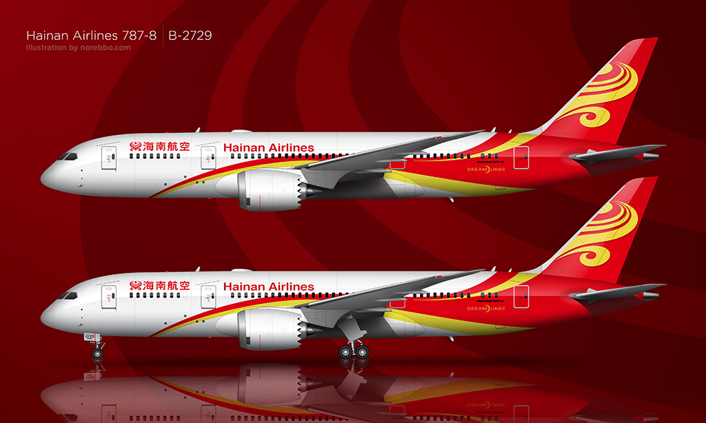 Hainan Airlines 787-8 illustration by norebbo