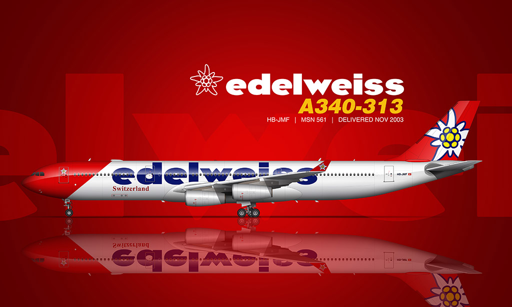 Edelweiss Air A340 rendering by Norebbo