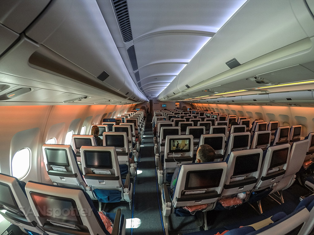 Edelweiss air A340 economy class cabin