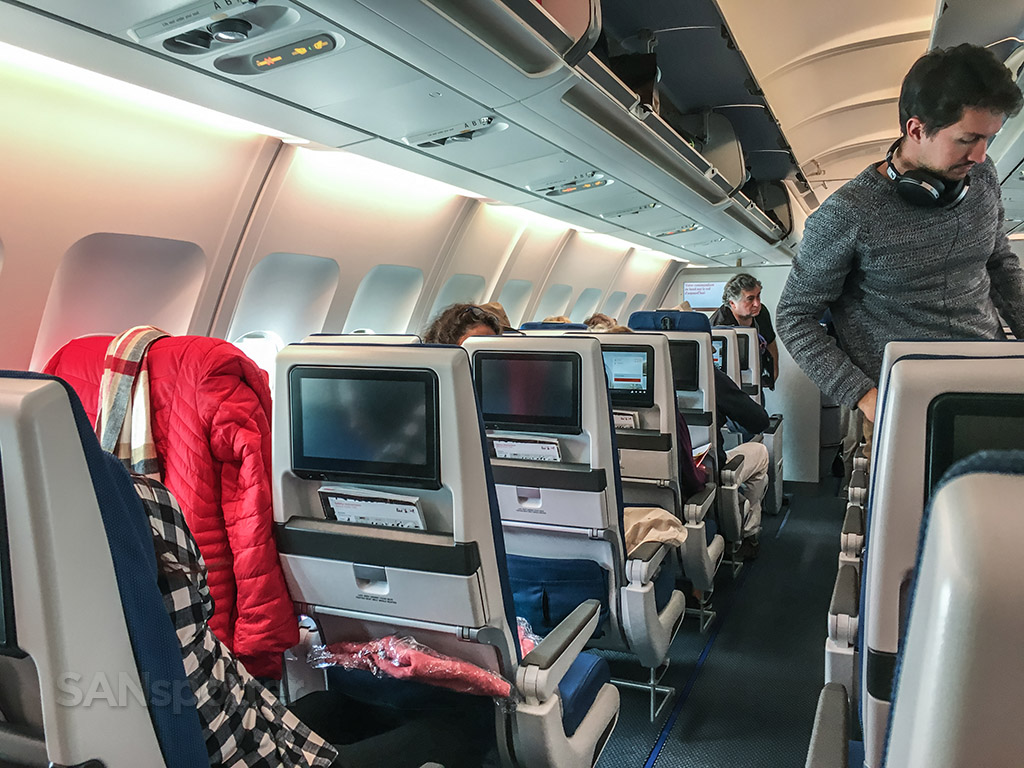 Edelweiss A340 economy class cabin