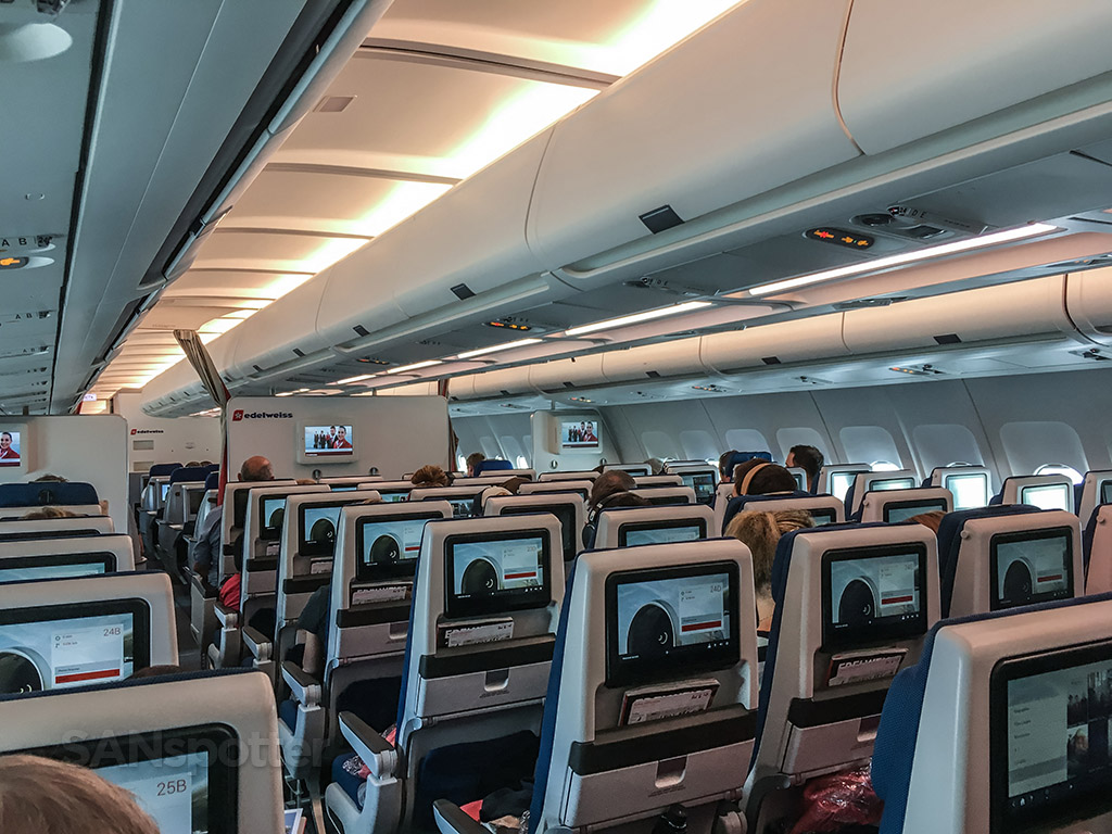 Edelweiss A340 economy class cabin interior