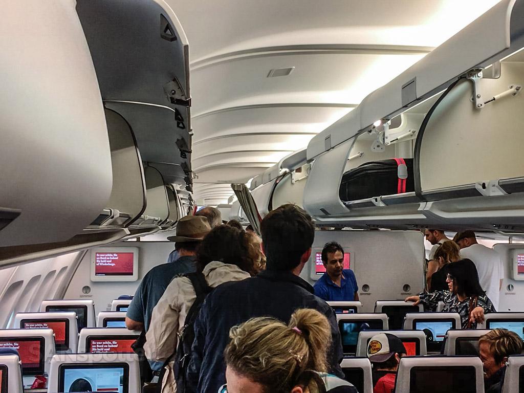 Edelweiss air A340 cabin arrival