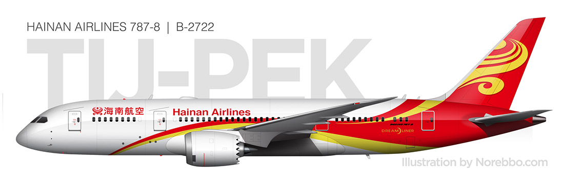 Hainan Airlines 787-8 side view