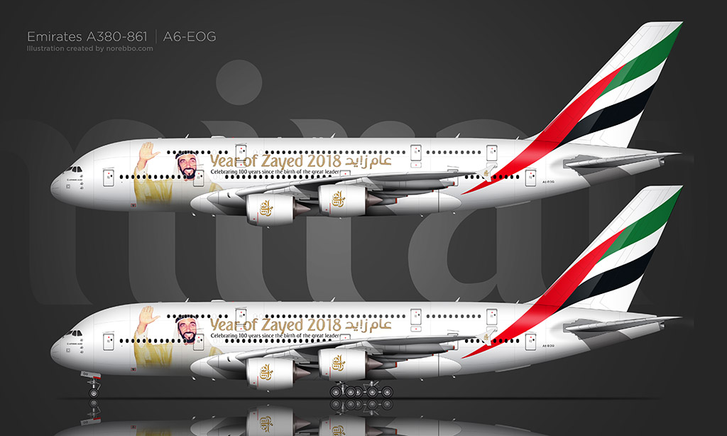 Emirates A380-800 Year of Zayed 2018 special livery by Norebbo