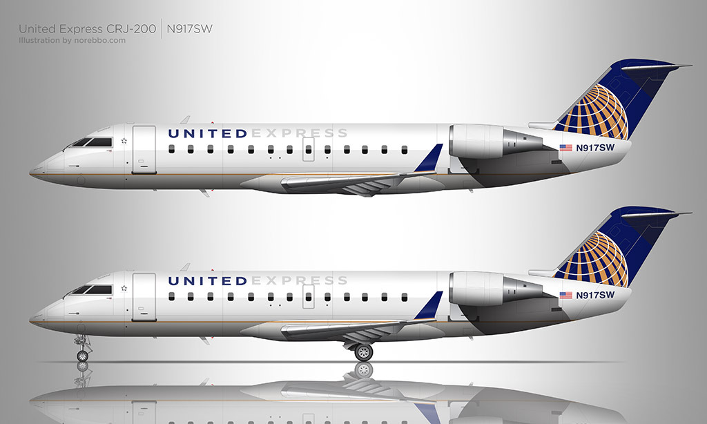 United Express CRJ-200 illustration by norebbo