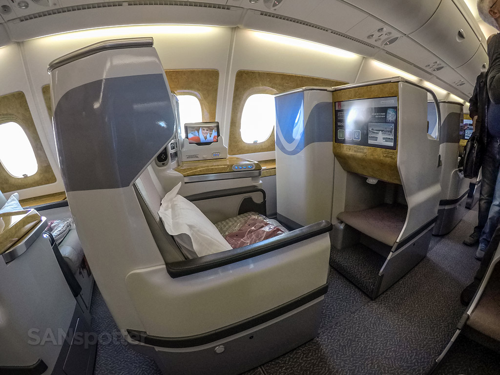 Emirates A380 business class staggered layout