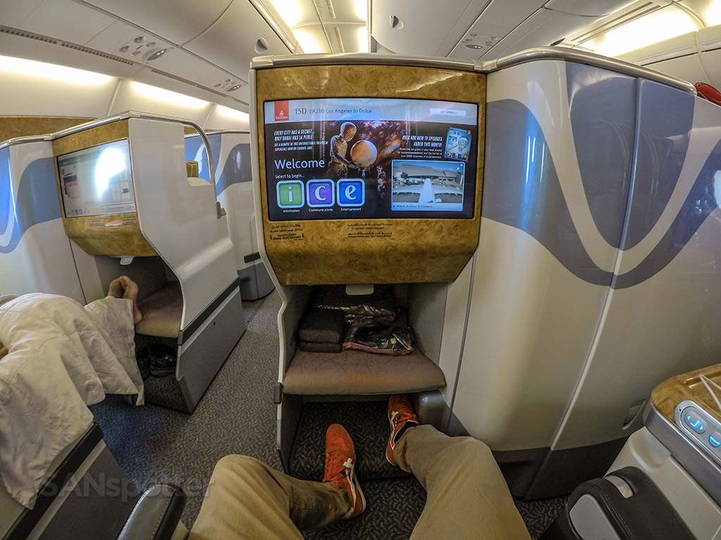 Emirates A380-800 business class Los Angeles to Dubai ...